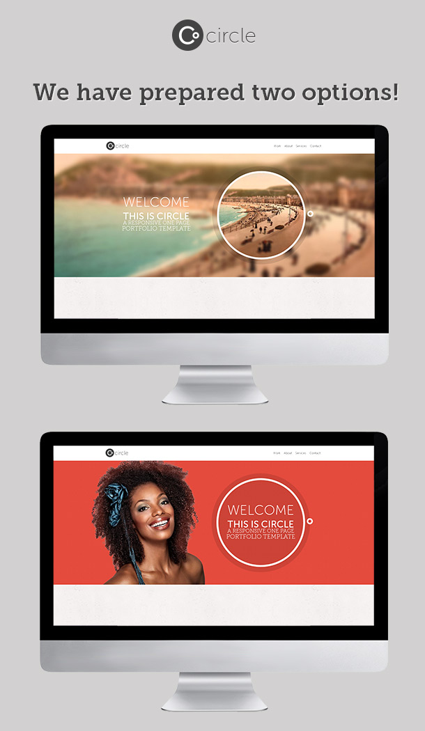 Circle Theme - One Page PSD Template